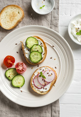 healthy snack - sandwiches with cream cheese, cucumber and radishes on light plate