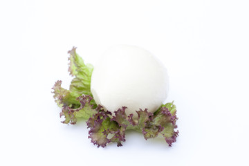 Mozzarella and red lettuce, clipping path included, selective focus, white background