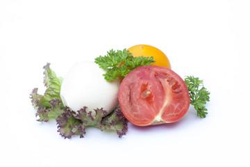 Mozzarella, tomatoes, lactuca, clipping path included