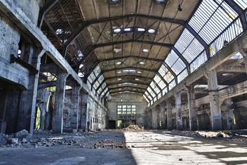Autocollant pour porte Les vieux bâtiments abandonnés abandoned factory, industrial background