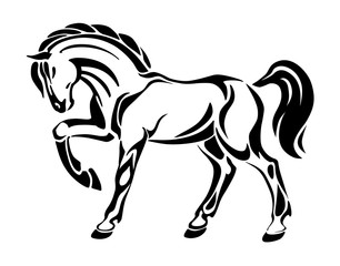 Horse tattoo - stylized graphic vector abstract drawing