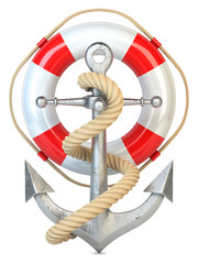 Anchor, lifebuoy and rope