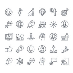 Thin line icons set. Icons for business, finance, social network, events, communication, technology.