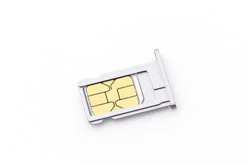 nano sim card with tray for cellphone on white background