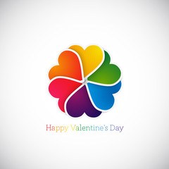 vector illustration of Colorfull paper hearts with place for tex