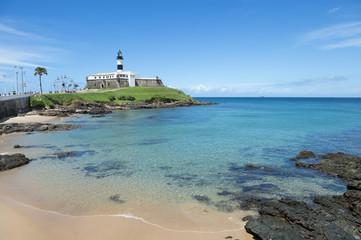 Portrait of the Farol da Barra Salvador Brazil lighthouse from the beach