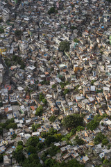 Crowded Brazilian Rocinha favela shanty town climbs a hillside in Rio de Janeiro Brazil