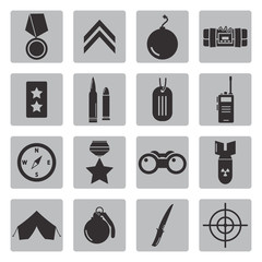 Vector black military icons set on grey background