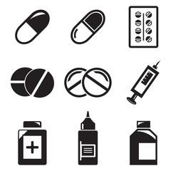 Vector black Pills, medicationicons set on white background