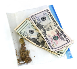 money and baggie of pot