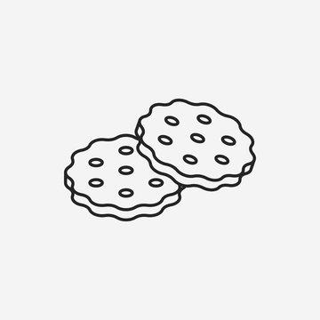 dessert cookie line icon