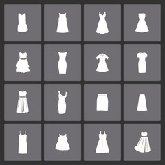 Dress clothes market icon set