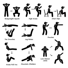 Body Workout Exercise Fitness Training (Set 2) Vector Illustrations