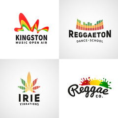 Set of positive ephiopia flag logo. Jamaica reggaeton dance