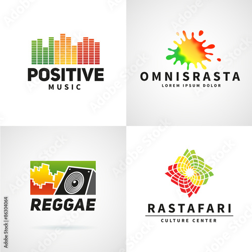 74af7dd9 Set of positive africa ephiopia flag logo design. Jamaica reggae ...