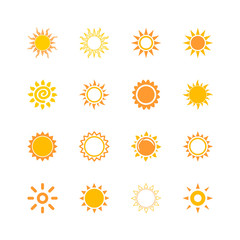 sun beam light warm icon set