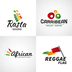 Set of african rastafari sound vector logo designs. Jamaica