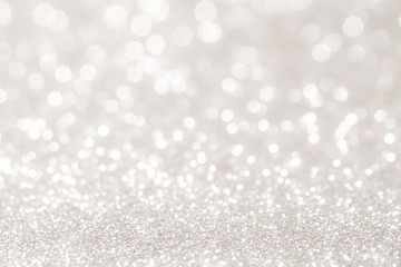 silver and white bokeh lights defocused. abstract background Wall mural