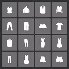 clothes wear fasion icon set