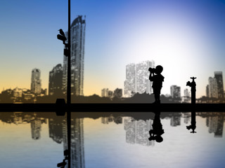 Children silhouettes take photos with a camera over blurred city
