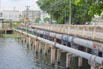 Nakhonratchasima, THAILAND - June 23, 2015 : Waste pipeline drai