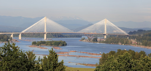 Panoramic view of the Fraser River and the mountains