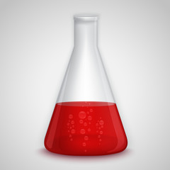 Laboratory flask with red liquid
