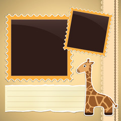 Photo album page with giraffe