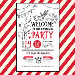 Invitation carnival party flyer.Typography and design.