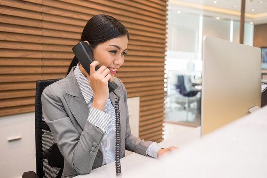 Pretty Vietnamese receptionist