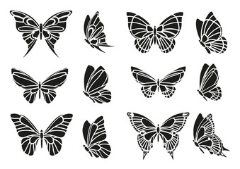 Set of black butterflies stencils