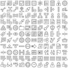 Schwarze Datenbanksymbole in Liniendarstellung