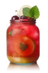 Cherry mint lemonade jar