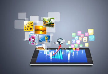 Wall Mural - Modern wireless technology and social media icons