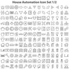 Schwarze Hausautomatisierungssymbole in Liniendarstellung Teil 1