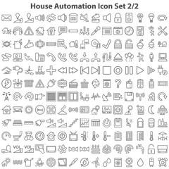 Schwarze Hausautomatierungssymbole in Liniendarstellung