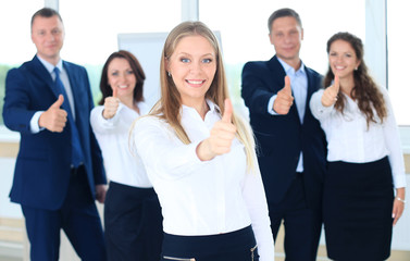 business concept - attractive businesswoman with team
