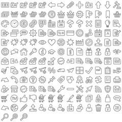 Schwarze Web Symbole in Liniendarstellung