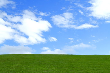 青空と草原 Green field under blue sky