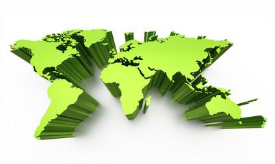 Wall Mural - Green world map
