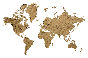 Clay on world map outline