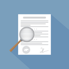 Vector icon - magnifier and paper document