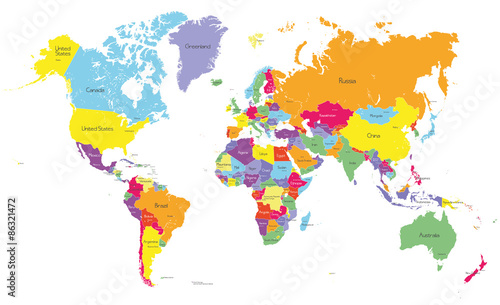 Colored political world map with country names and capital cities