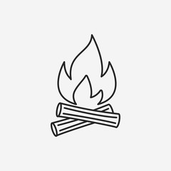 camp fire line icon