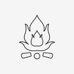 camp fire line icon