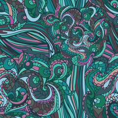 Multicolor Abstract ethnic swirl  seamless pattern,ornament