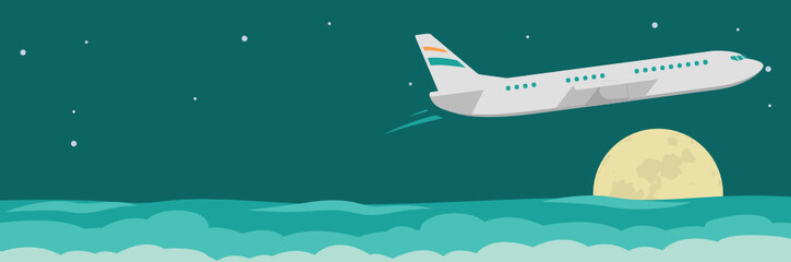flat design web banner on Airline tickets and travel