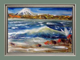 Kamchatka volcano, seaside. Oil on canvas