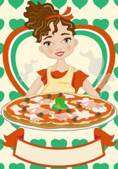 Pizza - Pizzaiola italiana con simboli tricolore e banner per testo
