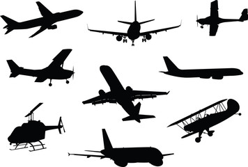 A collection of silhouettes of various aircraft including jets, airplanes and a helicopter.